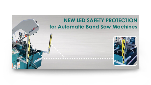 New led safety protection for automatic bandsaw machines
